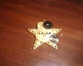 vintage pin brooch goldtone sun rhinestones clock face