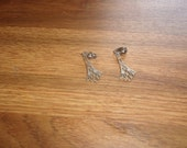 vintage clip on earrings silvertone dangles