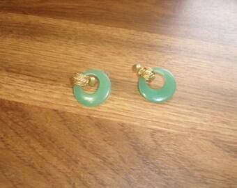 vintage clip on earrings green lucite hoops
