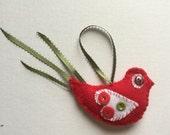 Red Button Bird Ornament