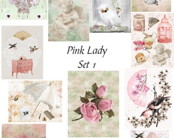 12 Pc Pink Lady Set 1. Handmade cards 4.5 x 5.5