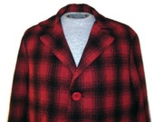 50s Car Coat Red Plaid Coat Red Black Jacket Red Tartan Coat 1950s Plaid Jacket Red Car Coat Red Winter Coat Red Black Coat Plaid Fall Coat