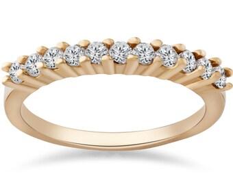 Yellow Gold Diamond Wedding Ring, 1/2ct Diamond Stackable Band Womens Wedding Ring 14K Yellow Gold Anniversary Round Brilliant Cut Ring