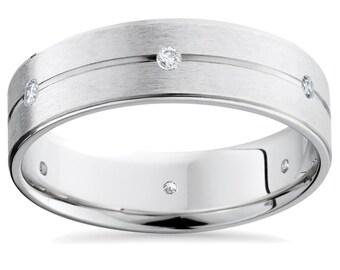 Mens Diamond Brushed G/SI Wedding Ring Band 14K White Gold