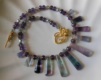 Fluorite beauty on glass necklace 782