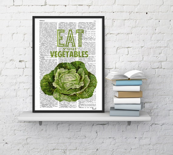 Eat your vegetables sign. Kitchen wall decor, giclee art print Wall- Dictionary art - Veggies print Poster print TYQ037