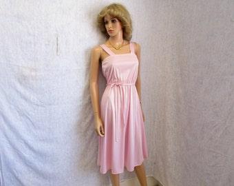 70s S Adina J Polyester Knit DRESS Spaghetti Straps Baby Pink