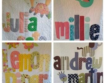 The Original Personalized Quilt 40 x 40, Baby Quilt, Raw Edge Applique Quilt, Name Quilt CC4040