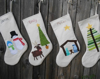 Personalized Christmas Stocking | Children Christmas Stockings in Snowmen,Christmas Tree, Reindeer and Nativity | Large Chris