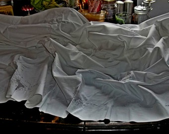 SALE Antique Pure Linen Hand Embroidered Appenzell Queen Sheet Set