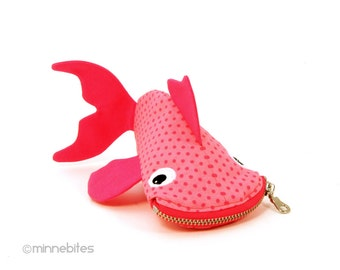 Pink Fish Bag by MinneBites / Handmade Guppy Purse - Fun Stocking Stuffer - Pink Toddler Coin Purse - Pet Fish Zipper Pouch - Ready to Ship