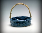 Handmade Blue Ceramic Basket with handmade Reed and Cane Handle/Ceramics and Pottery