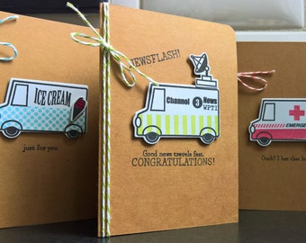 Greeting Card Set of 3, Birthday Card, Get Well Card, Congratulations Card, Feel Better Soon Card, Food Truck Cards