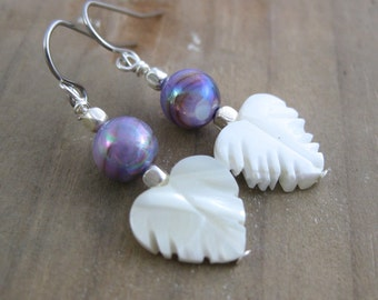 Winter Leaves // Purple Rainbow Shell and Leaf Dangle Earrings // AB Finished // Ready to Ship // Winter Wedding // Bridesmaid Gift