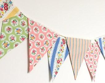 Summer Shabby Chic Fabric Banners, Bunting, Garland, Wedding Bunting, Pennants, Flags - 3 yards
