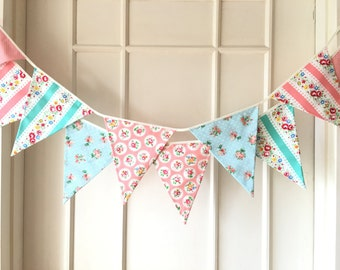 Shabby Chic Fabric Banners, Bunting, Garland, Wedding Bunting, Pennants, Flags, Mint, Peach, Pink, Blue - 3 yards (3rd version)