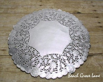 25+Silver Lace Doily Paper Placemats~12 Inch~Quantities of 25/30/40~Silver Charger for Weddings~ Bridal Shower Decor~Wedding Invitation Trim
