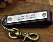 Latitude Longitude Keychain - Personalized Leather Coordinates Key Chain
