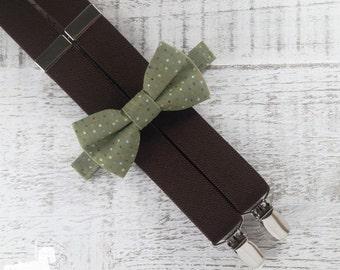 Boy Suspender Bow Tie Set - Green Polka Dot Bow Tie - Brown Suspenders - Wedding Accessory