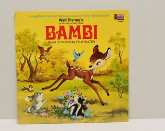 Bambi  Story and Songs   1969 Book and Long Playing  Record Album Disneyland Record