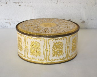 Vintage Gold and Ivory Tin Box New York