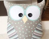 Owl Pillow Gray and Blue Polka Dot with Chevron Wings
