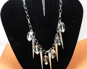 Spike and Crystal Chain Necklace Set