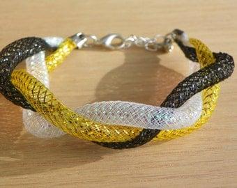Steeler Penguin Color Bracelet black and gold bracelet sports bracelet Pittsburgh Steeler color bracelet Pittsburgh Penguin color bracelet