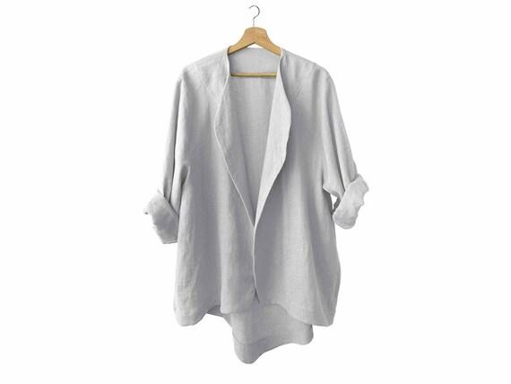 Linen women's jacket, dove grey linen jacket, grey linen coat, light grey jacket, linen women's clothing by LHI