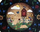 Primitive Folk Art Painting READY TO SHIP Spring Easter Wooden Plate with Birdhouse, Bunnies, Bluebirds, Flowers, Primitive Colors, Sunshine