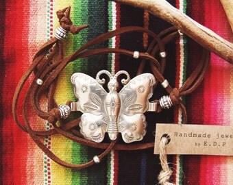 RCBA-05, repurposed vintage butterfly concho wrap bracelet