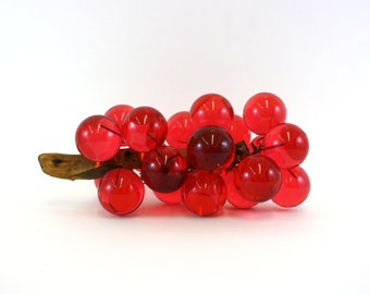 Vintage Deep Rose Lucite Grapes on Driftwood Branch (E6528)