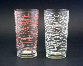 Vintage White and Pink Dot and Line Mid Century Glasses, Set of 2 (E6890)