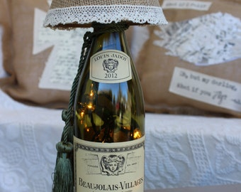 Wine Bottle Lamp Light with Burlap and Lace Lamp Shade / Twinkle Lights in Wine Bottle / Hostess gift, coworker Christmas gift, handmade