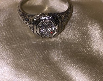 REDUCED -Antique Estate Diamond Ring Brilliant 18ct White Gold Wedding Ring at Gothic Rose Antiques