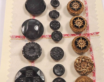 Black glass vintage buttons, some with gold lustre (Ref A06)