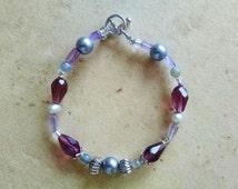 Amethyst beaded bracelet, Amethyst, gray pearl, gray opal, purple teardrop beaded bracelet