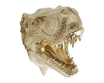 Gold T-Rex Dinosaur Head Wall Mount - Dinosaur Faux Taxidermy TX08