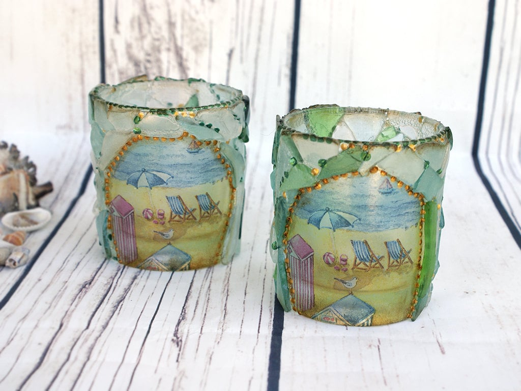 Sea Glass Candles Holders Beach Decordecoupage & by ...