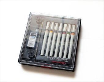 FREE SHIPPING Used Set Koh-I-Noor Rapidograph 7-Pen Drafting Technical Pen Set with India Ink