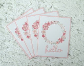 Hello Wreath Cards in Pink and White, Four Cards with Envelopes