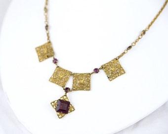 Edwardian purple amethyst drop festoon necklace
