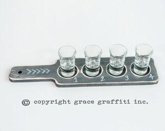 Set of 2 Wooden Chalkboard Drink Flights - Distressed Paddles, Entertaining, Drink Tray, Beer, Wine, Spirits