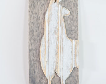 Llama, Wooden Wall Art, Distressed Antique White Bead Board, Modern Rustic