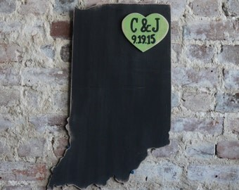 Custom Wooden State Wedding Guestbook -2 ft Indiana in Distressed Black - any state/country available in many colors