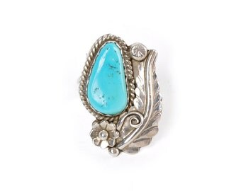 Native American Light Turquoise Sterling Silver Floral Ring