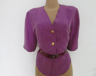 Silk Blouse / Buttoned Blouse / Shirtblouse / Shirt Blouse / Size EUR 40 / UK12