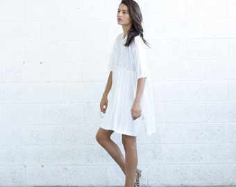 Embroidered Love Dress, WHITE