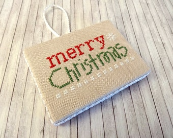 Christmas Ornament, Cross Stitch Ornament, Christmas Cross Stitch, Ornament, Finished Cross Stitch, Completed Cross Stitch, Merry Christmas
