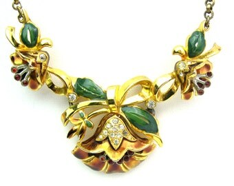 Coro Necklace. Enamel & Rhinestone Flower Jewelry. Vintage 1930s Adolph Katz Design.  Art Deco Pre-WWII Book Piece, Old Hollywood